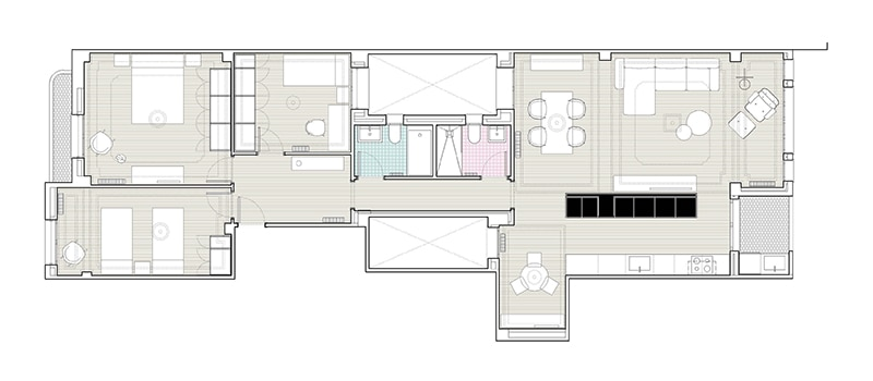 apartment DG Arquitecto Valencia central design renovation minimalism floor plan