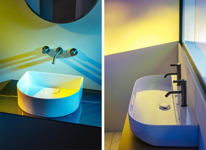 LAUFEN sonar collection by patricia urquiola shaped like sound-waves in water
