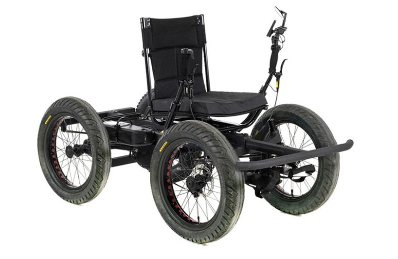 the rig is a fully electric, all-terrain off-road wheelchair